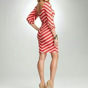 BEBE red and tan stripe chevron dress